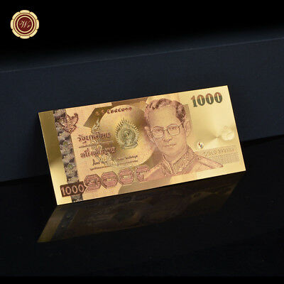 WR Colourful 24K Gold Foil Thailand 1000 Baht King Banknote Collection Gifts