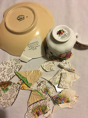 For Mosaic - 3 x broken vintage pottery pieces - Wade - Royal Albert - craft