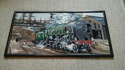 Steam Train in Station Evening Star Completed Tapestry vintage finished piece...