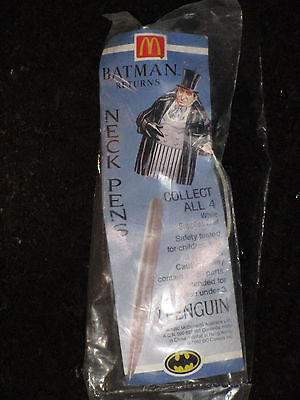 McDonalds Batman Returns Penguin Neck Pen MIP sealed - 1992 Happy Meal toys