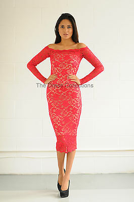 a846aaa9265a New Womens Ladies Red Off Shoulder Stretch Lace Bardot Midi Bodycon Dress