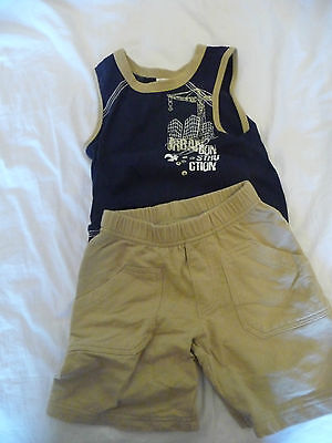 Baby World Boys summer outfit Size 0 Navy and beige EUC