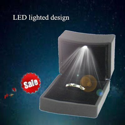 Lighted Ring Box LED Engagement Proposal Jewelry Display Gift Case Holder AUS