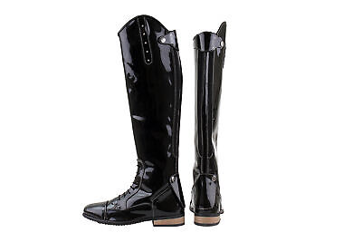 HORKA Synthetic Patent Leather Riding Boot - Bonny - Black