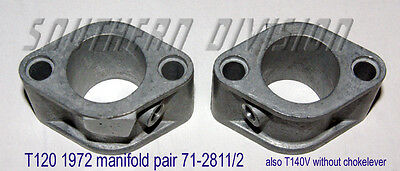 Triumph inlet Manifolds pair Bonneville  71-2811 71-2812 1972 or later T140V