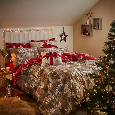 Christmas Garland King Duvet Cover Red/ Natural