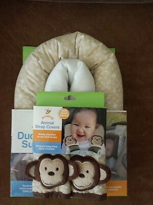 Goldbug Baby Infant Duo Head Support & Animal Strap Covers Monkeys Tan & White