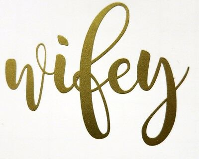 Hubby wife Decal iron on, gold  (2)