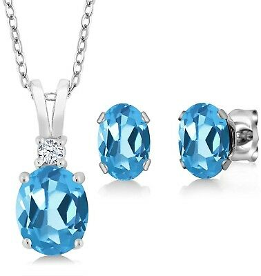 Sterling Silver Genuine Swiss Blue Topaz Pendant Earrings Set (3.15 Cttw, With