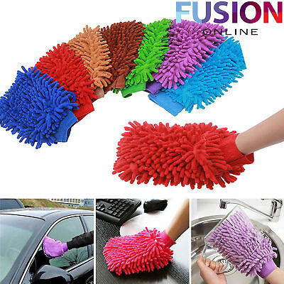Microfibre Car Wash Mitt Washing Cleaning Glove Polishing Shampoo Duster Clothes