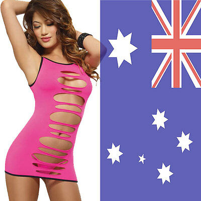 Seamless Pink Cut Out Chemise w G-String One Stretchy Size Fit 8-12