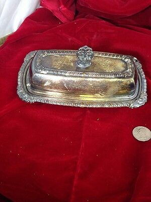 Home Decorators Silver Plated Ornate Metal Old Antique Butter Dish very old