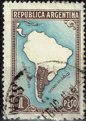 Argentina country map stamp 1959
