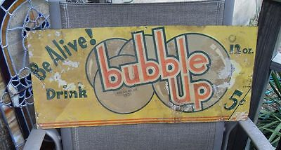 EARLY old Bubble Up Soda Drink Advertising Sign metal embossed tin Be Alive! 5c