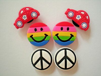 Clog Shoe Charms Button Plug Accessories Bracelet WristBand Peace Sign Rainbow