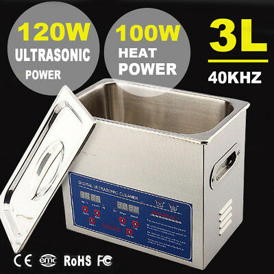 Stainless Steel 3 L Liter Industry Heated Ultrasonic Cleaner Heater w/Timer