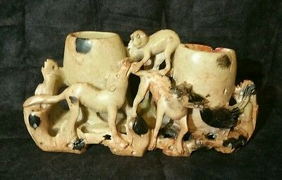 Old Chinese Soapstone Double Brush Pot With Carved Dogs And Monkeys