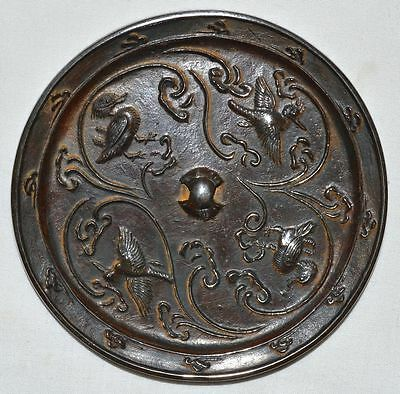 China Tang Song Kingdom Official Bronze Dressing Mirror Carved Birds Pattern