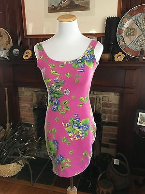 VTG Betsey Johnson, fabulous floral dress with GLOVES!! punk label 1980's