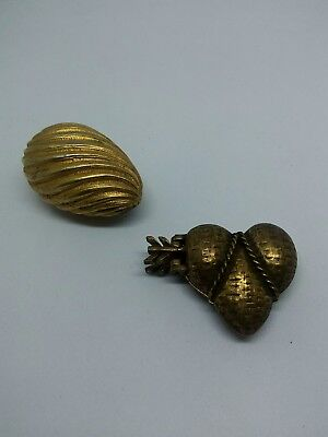 Lot of Vintage Solid Perfume Compacts Gold and Brass Tone One Egg and One Heart