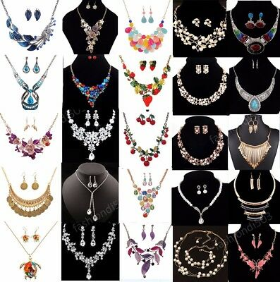 Women Jewelry Chain Pendant Crystal Choker Statement Bib Necklace Set Earrings