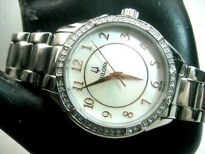 Bulova 96L146 Ladies Dress Watch S/s Mother Of Pearl Dial Crystal Bezel Analog