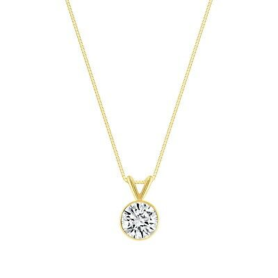 """1 Ct Round Cut Solid Real 14k Yellow Gold Solitaire Bezel Pendant 18"""" Necklace"""