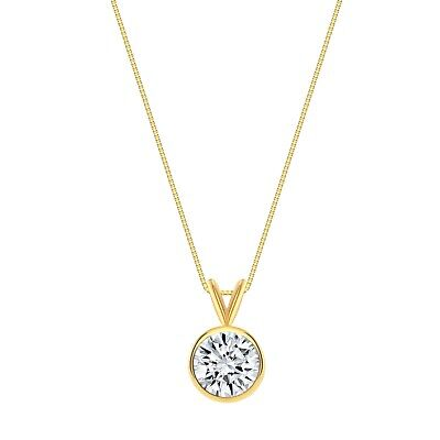 """3 Ct Round Cut Solid Real 14k Yellow Gold Solitaire Bezel Pendant 18"""" Necklace"""