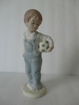 Golden Memories   8'' Boy with Soccer Ball '' Porcelain Figurine Gorgeous
