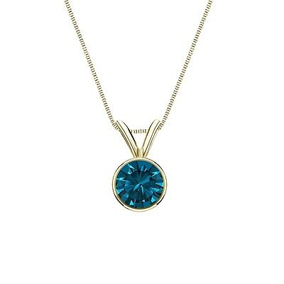 """2 Ct Round Cut Blue Real 14k Yellow Gold Solitaire Bezel Pendant 18"""" Necklace"""
