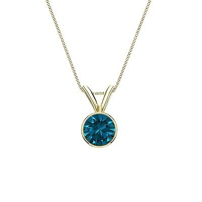 """1 Ct Round Cut Blue Real 14k Yellow Gold Solitaire Bezel Pendant 18"""" Necklace"""