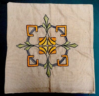 """Antique Embroidered ARTS & Crafts Linen Pillowcase Unused Mission 16"""" X 17"""""""