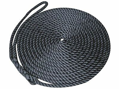 "3/8"" x 15' 3-Strand Premium Twisted PP Boat Black Dock Line w/Eye - Five Oceans"