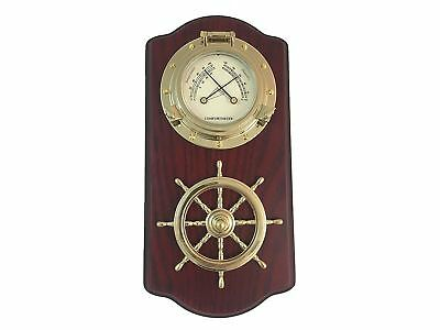 Golden Nautical Porthole Wall Weather Station w/High Precision Thermometer & Hyg