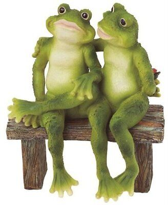 "2 Frogs on Bench Garden Decoration Collectible Figurine 5""H x 7""W Polyresin"