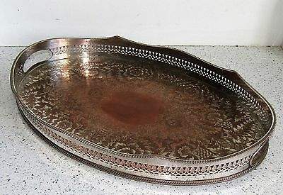 Antique Silver Plated On Copper Large Serving Tray Heavy Oval 45cm Heavy
