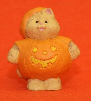 Merry Miniatures Hallmark 1995 Cameron Pumpkin QFM8147 Cat Halloween
