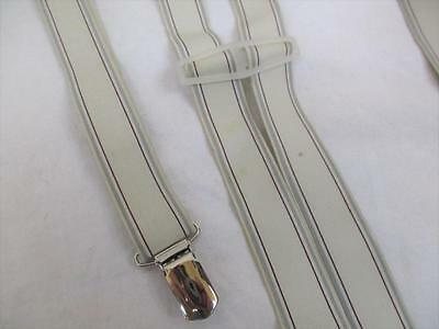 Vintage 70's Mens Braces Trouser Suspenders Grey Stripe Retro Mod Scooter Folk