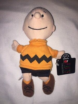 "Stuffed Plush Charlie Brown Peanuts bean bag by Applause 7"" beanie"
