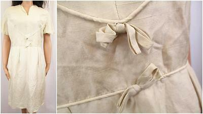 12 M - True Vintage 1940's Dress Ivory Satin Tea Party Bow Detail Cute - L318