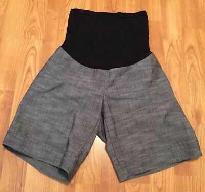Medium Gray / Black Office Career Shorts by Two Hearts Maternity ~ Stretch