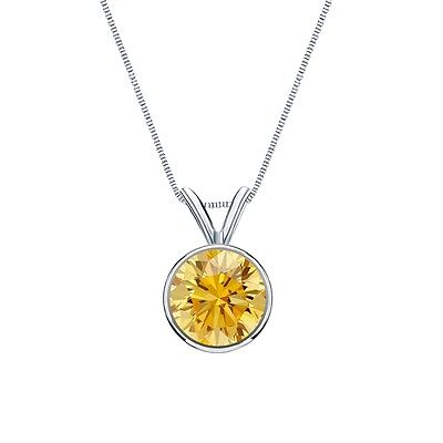 """3 Ct Round Cut Canary Real 14k White Gold Solitaire Bezel Pendant 18"""" Necklace"""