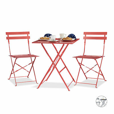 Square Bistro Table with 2 Chairs, Foldable, Garden Patio Furniture Set, Metal