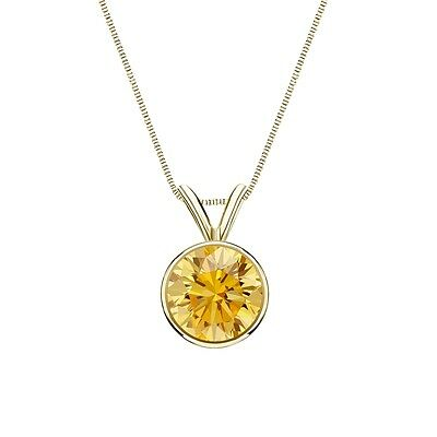 """3 Ct Round Cut Canary Real 14k Yellow Gold Solitaire Bezel Pendant 18"""" Necklace"""
