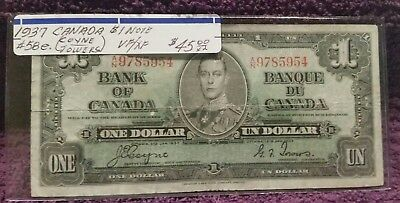 1937 Bank Of Canada, $1. Note.