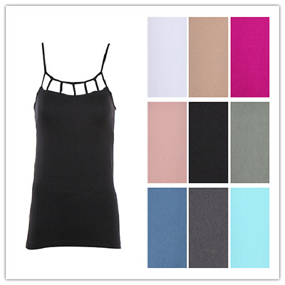 53ce14949cad3 CAMI Camisole with Built in Shelf BRA Adjustable Spaghetti Strap Tank Top S  M L