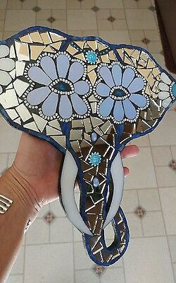 mosaic art elephant aztec glass mirror plaque wall hanging handcrafted diy