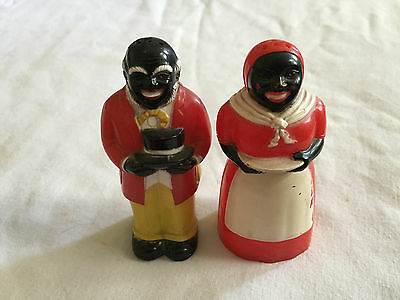 Vintage BLACK AMEICANA Salt & Pepper Shakers F&F PLASTIC Mammy Uncle Moses