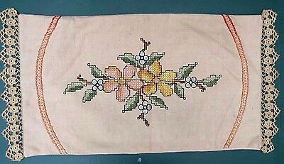 Antique Embroidered ARTS & Crafts Linen Pillowcase Unused Mission Crochet 26X18