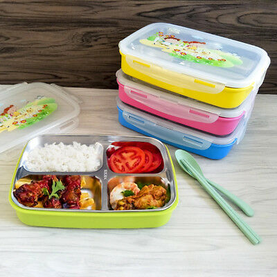 Kids Lunch Box Stainless Steel Thermal Bento Children Divided Food Container